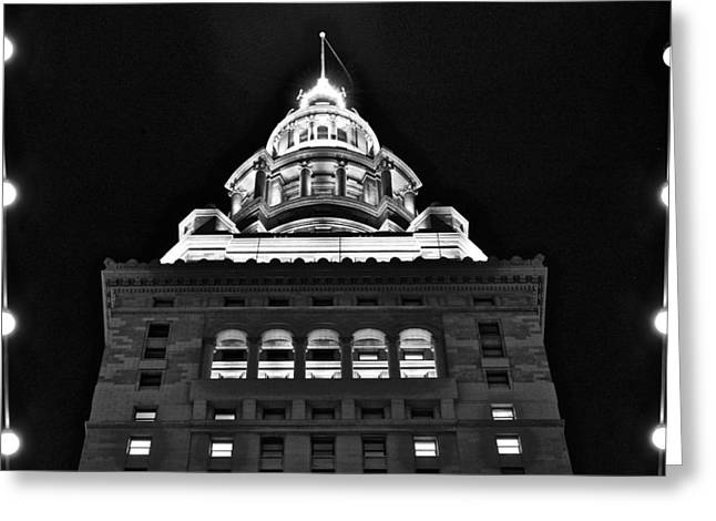 Terminal Tower Black And White Greeting Card