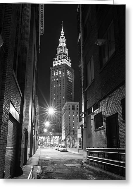 Terminal Tower From A Cleveland Alley Greeting Card