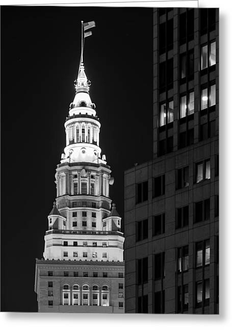 Terminal Tower In Black And White  Greeting Card