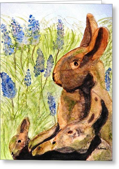 Greeting Card featuring the painting Terra Cotta Bunny Family by Angela Davies