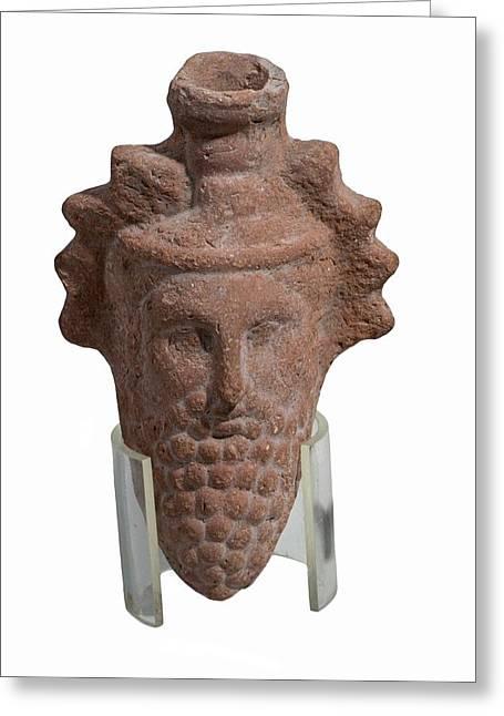 Terra-cotta Dionysus Head Flask Greeting Card by Photostock-israel