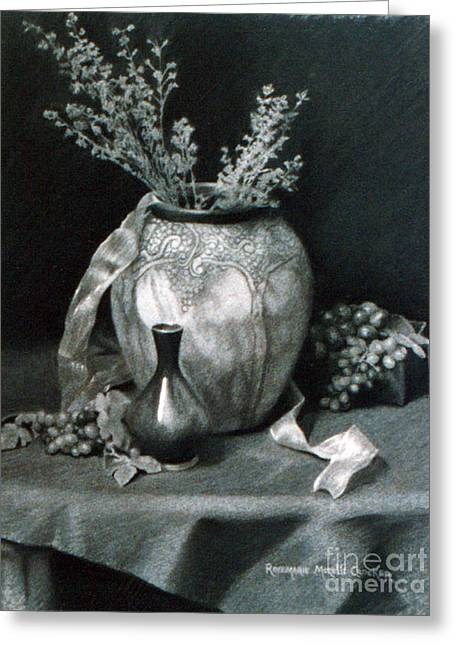 Terra Cotta Urn And Grapes Greeting Card by Rosemarie Morelli
