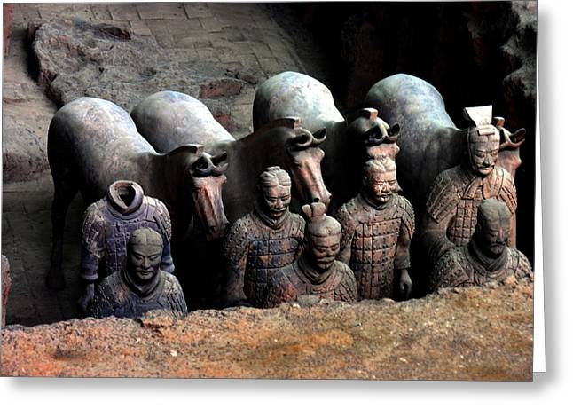 Terra Cotta Warriors Xiang China Greeting Card by Jacqueline M Lewis