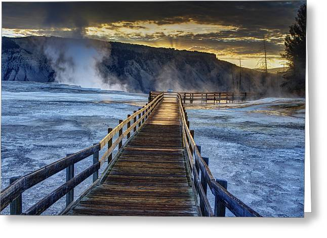 Terrace Boardwalk Greeting Card by Mark Kiver