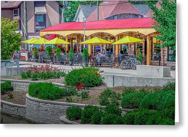 Terrace Dining On The Monon Trail Greeting Card