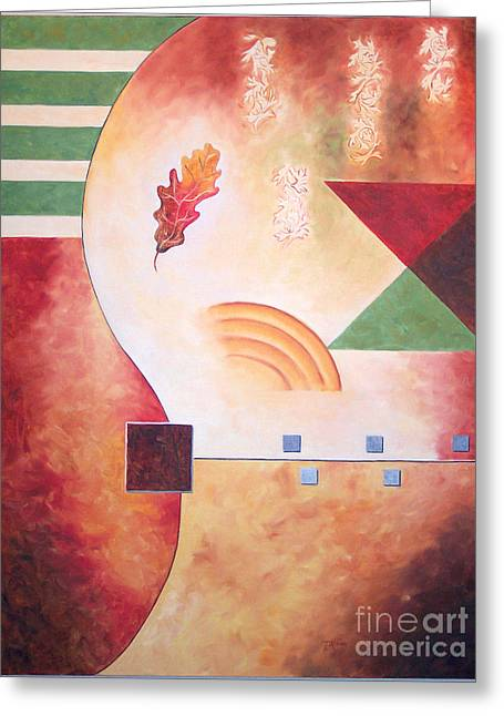 Greeting Card featuring the painting Terraform I- Taos Series by Arthaven Studios