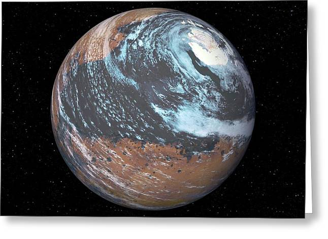 Terraformed Mars Greeting Card by Detlev Van Ravenswaay