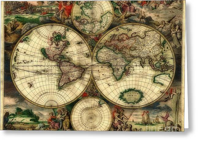 Terrarum Orbis Old World Map  Greeting Card by Inspired Nature Photography Fine Art Photography