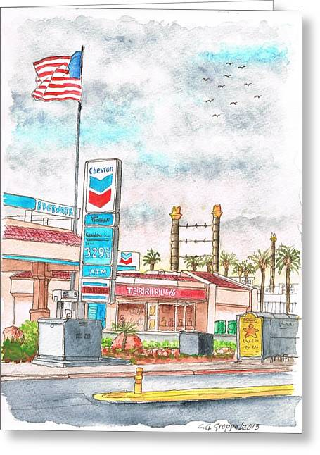 Terribles Chevron Gas Station, Laughlin, Nevada Greeting Card