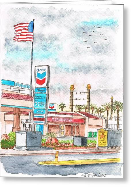Terribles Chevron Gas Station, Laughlin, Nevada Greeting Card by Carlos G Groppa