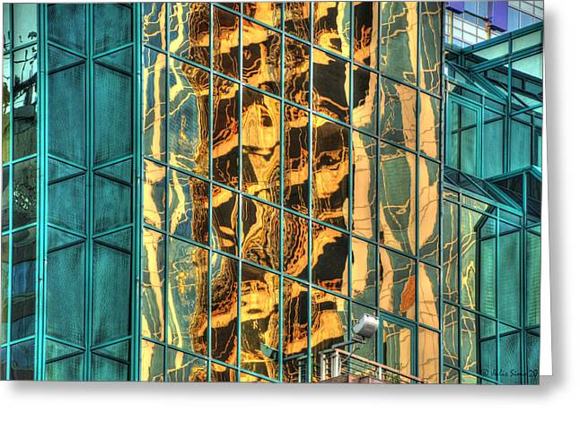 Terrific Warsaw Under Construction Glass Reflections Greeting Card