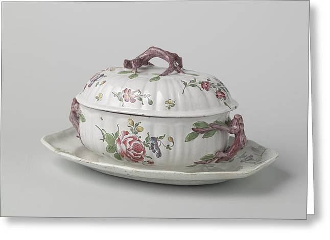 Terrine With Lid On Saucer, Painted With Flower Sprays Greeting Card