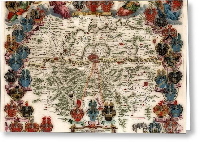 Territories Vintage Map Greeting Card by Inspired Nature Photography Fine Art Photography