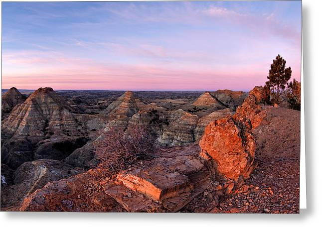 Terry Badlands Sunrise Greeting Card by Leland D Howard