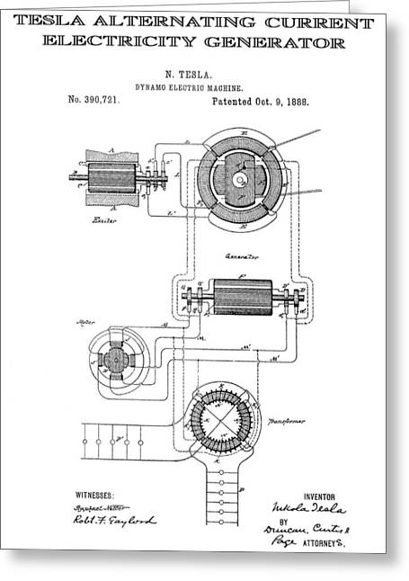 Tesla Alternating Current Patent Art 1888 Greeting Card by Daniel Hagerman