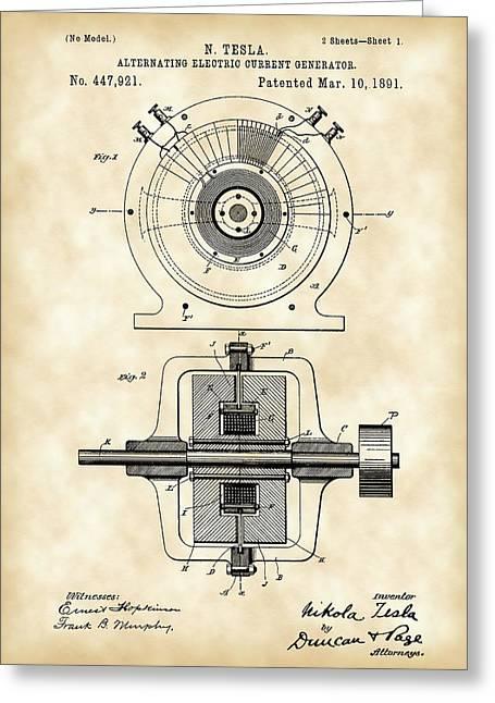 Tesla Alternating Electric Current Generator Patent 1891 - Vintage Greeting Card