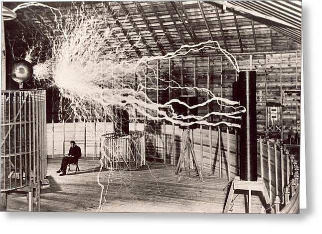 Tesla Coil Experiment Greeting Card by Nikola Tesla Museum/science Photo Library