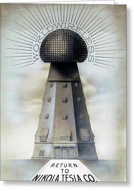Tesla's Wardenclyffe Tower Laboratory Greeting Card by Nikola Tesla Museum/science Photo Library