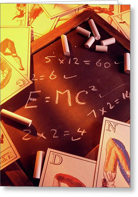 Test Answers Including E=mc2 On A Blackboard Greeting Card by Tony Craddock/science Photo Library