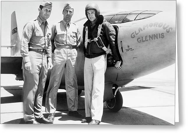 Test Pilots And Bell X-1 Greeting Card by Underwood Archives