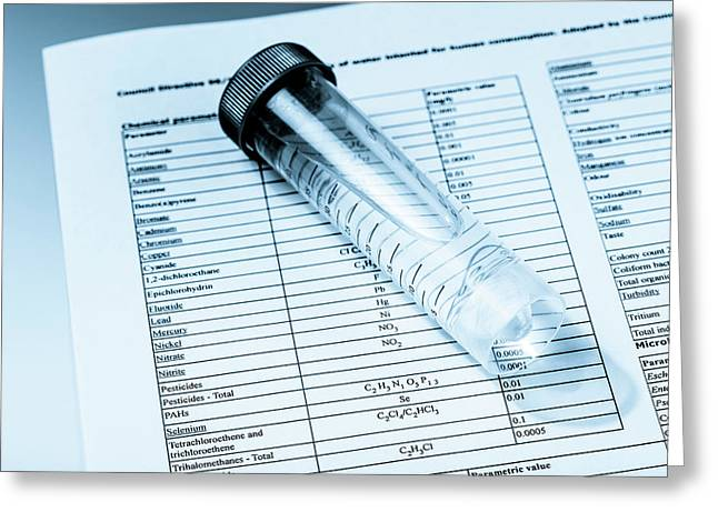 Test Tube Containing Water And Paperwork Greeting Card by Wladimir Bulgar