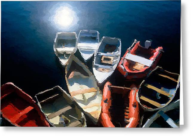 Tethered Boats - Maine - A Painting Greeting Card