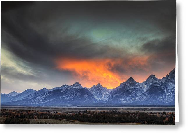 Teton Explosion Greeting Card by Mark Kiver