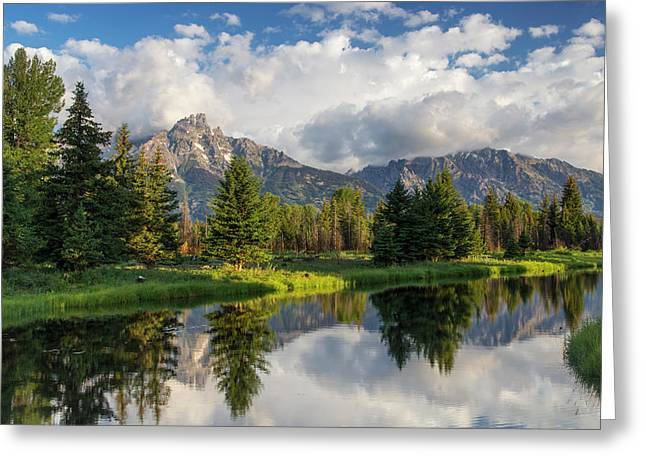 Teton Mountains Reflect In Schwabacher Greeting Card by Chuck Haney