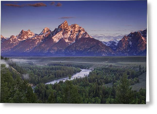Teton Panorama Greeting Card by Andrew Soundarajan