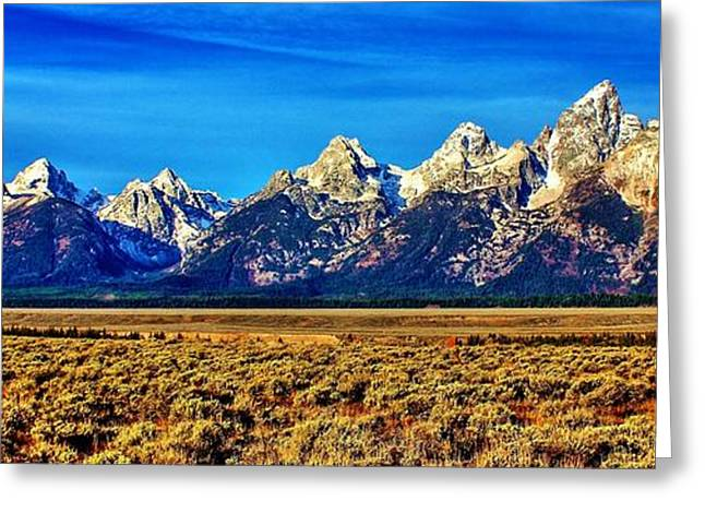 Greeting Card featuring the photograph Teton Panorama by Benjamin Yeager