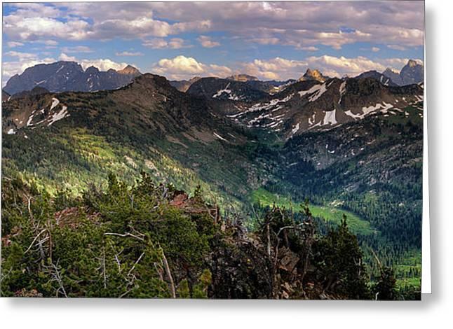 Teton Panoramic Greeting Card by Leland D Howard