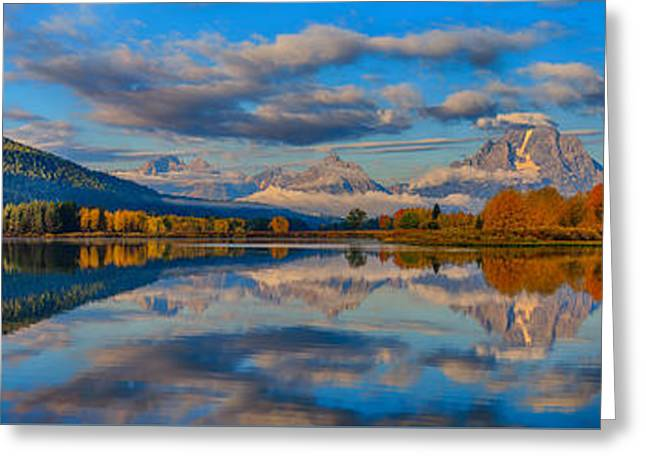 Teton Panoramic Reflections At Oxbow Bend Greeting Card by Greg Norrell