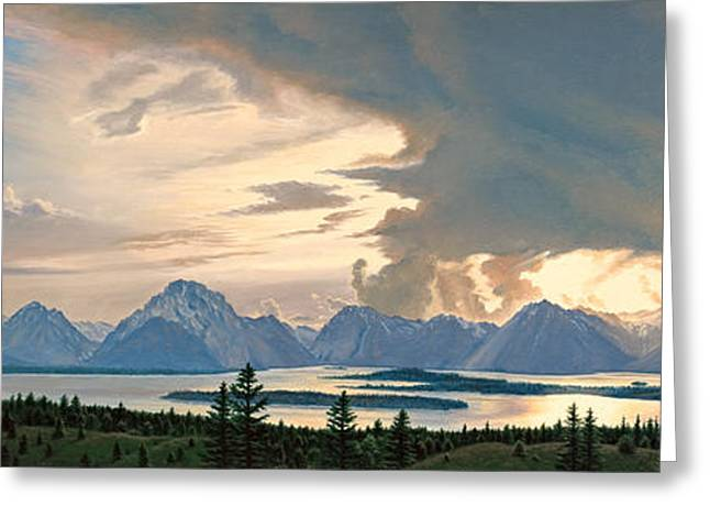 Teton Range From Signal Mountain Greeting Card by Paul Krapf