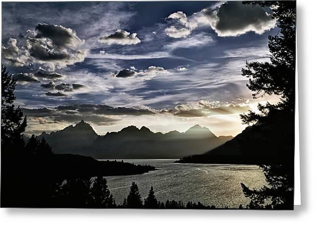 Teton Range Sunset Greeting Card by Leland D Howard