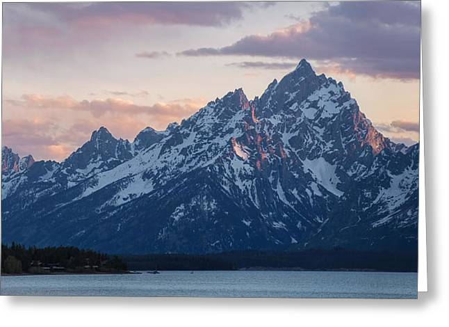 Greeting Card featuring the photograph Teton Sunset On Jackson Lake by Aaron Spong