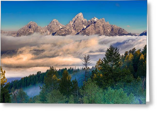 Tetons Above The Clouds Greeting Card by Jerry Patterson