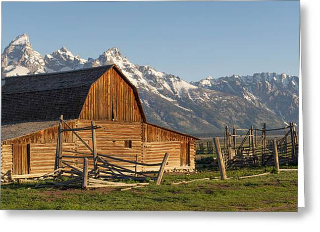 Tetons And Old Barn - Mormon Row Greeting Card by Aaron Spong