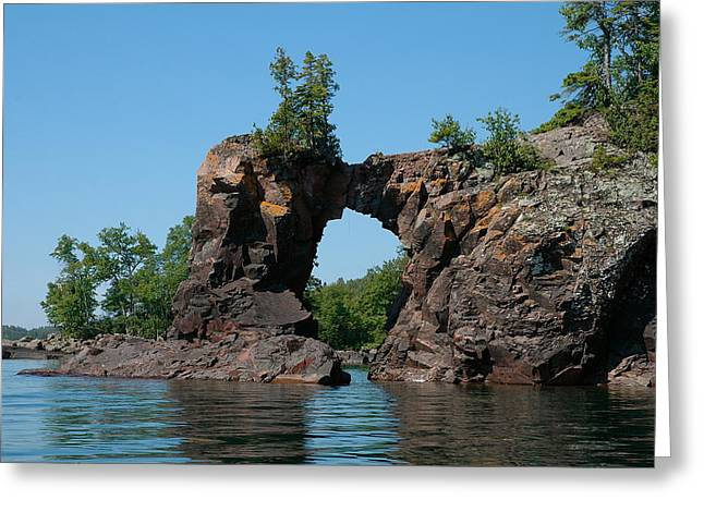 Tettegouche Arch By Kayak Greeting Card by Sandra Updyke