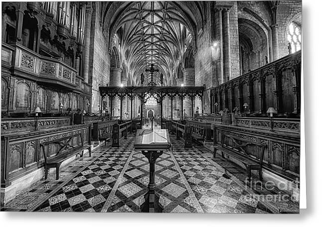 Tewkesbury Abbey Bw Greeting Card