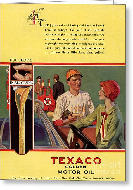 Texaco 1926 1920s Usa Cc  Baseball  Oil Greeting Card by The Advertising Archives