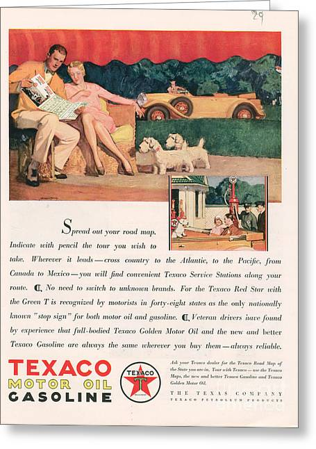 Texaco 1929 1920s Usa Cc Oil Gas Petrol Greeting Card by The Advertising Archives