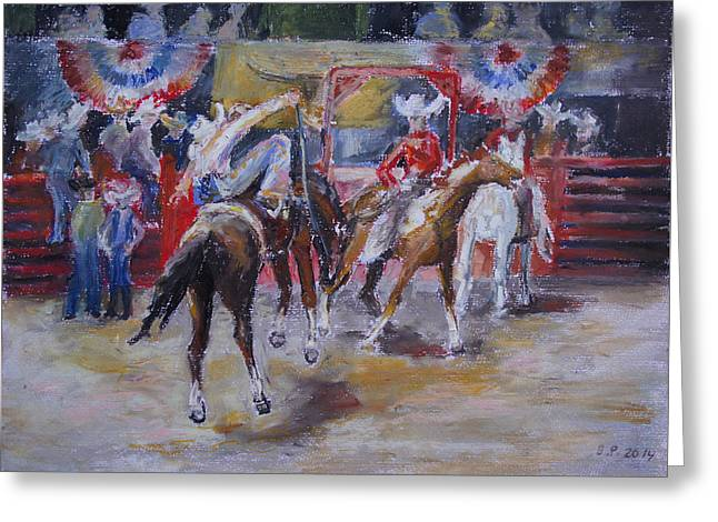 Texan Rodeo Greeting Card by Barbara Pommerenke