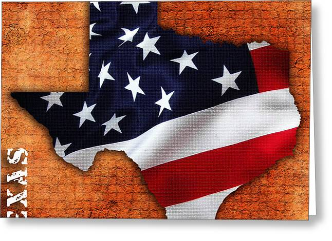 Texas American Flag Map Greeting Card