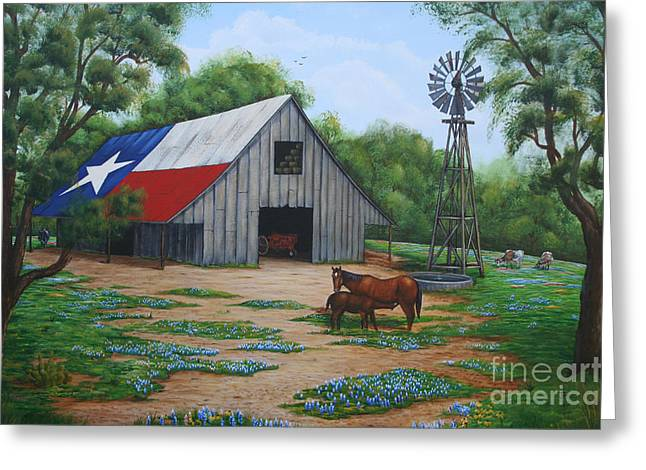 Greeting Card featuring the painting Texas Barn by Jimmie Bartlett