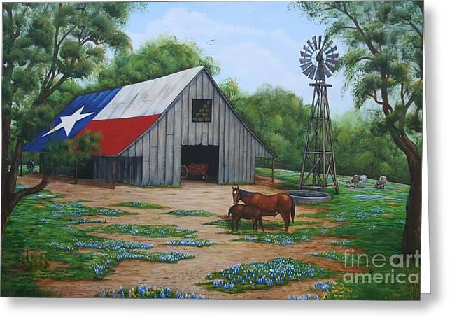Texas Barn Greeting Card by Jimmie Bartlett