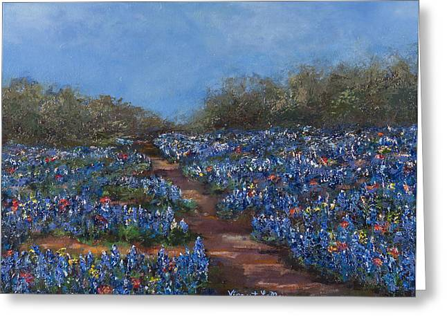 Texas Blue Bonnets Hill Country Trail Greeting Card by Nancy LaMay