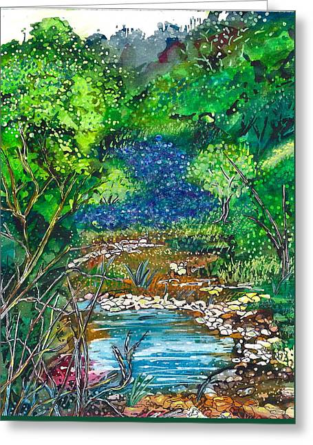 Texas Bluebonnets And Sparkling Stream Greeting Card by M E Wood