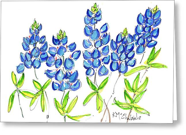 Texas Bluebonnets Watercolor Painting By Kmcelwaine Greeting Card by Kathleen McElwaine