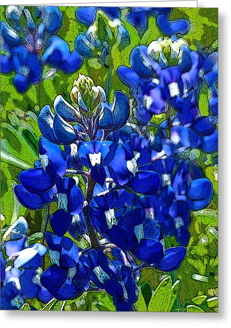Texas Bluebonnets - Posterized Image Greeting Card