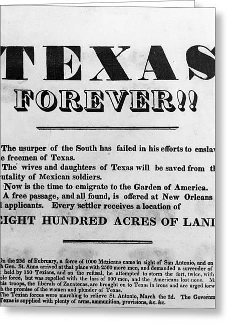 Texas Broadside, 1836 Greeting Card by Granger